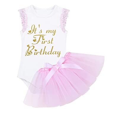 5708dfee0 TiaoBug Newborn Baby Girl Princess My First Birthday Outfits Cake ...