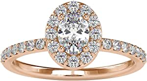 0.92 Ct Oval Shape Diamond Engagement Ring, Unique Wedding Bridal Promise Ring, SGL Certified diamond Halo Gold Ring, Statement Women Solitaire Ring