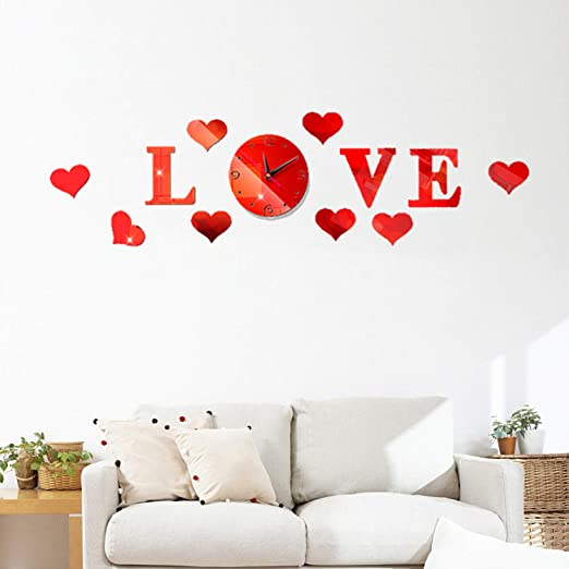 Amazon Com Hooddeal Diy Mirrors Wall Decals Love Heart Shaped Wall Stickers With Frameless Wall Clock Adhesive Art Wall Decoration Removable Home Nursery Living Room Decor Red Home Kitchen