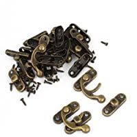 Uxcell a14082700ux0095 Right Latch Hook Antique Wood Box Hasp Catch Decor, Bronze Tone, 20-Piece