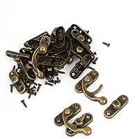 Uxcell a14082700ux0095 Cerrojo decorativo de gancho, estilo antiguo, tono bronce, 20 piezas