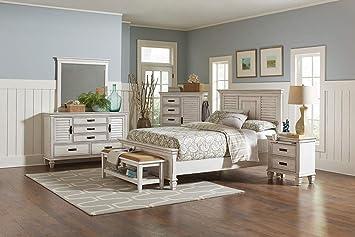 Amazon.com: Coaster Franco 5-Piece Bedroom Set Antique White ...