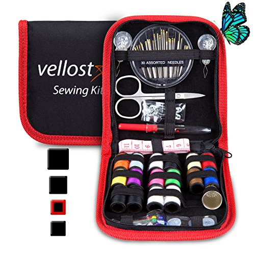 Sewing KIT, Tackle Any Fashion Emergency - Clothing Repairs at Home & in The Office. Highly-Rated Mini Sew Kit for Travel Trips. Mending Supplies & Accessories (Black&Red-Trim, Pack of 1) by VelloStar