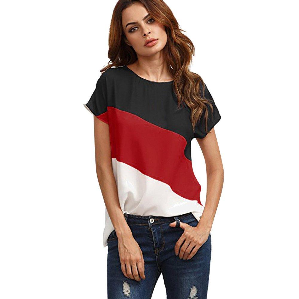 Xavigio_Women Tops and Blouses Women's O-Neck Color Block Chiffon Shirts Short Sleeve Casual Blouse Tunic Tops