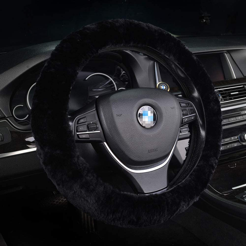 U/&M Wool Car Steering Wheel Cover Soft Fluffy Natural Sheepskin Luxurious Wool Vehicle Non-slip Wheel Cushion Protector Universal Fit for 15 inch