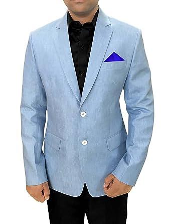INMONARCH Mens Slim fit Casual Sky Blue Linen Blazer Sport Jacket Coat for Sports SB88L34 34