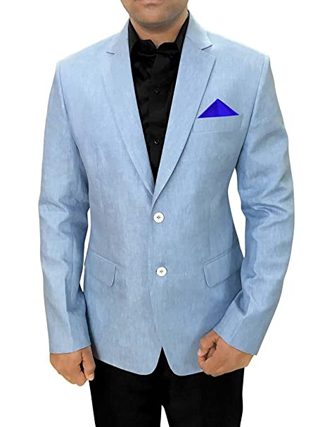 INMONARCH Mens Slim fit Casual Sky Blue Linen Blazer Sport ...