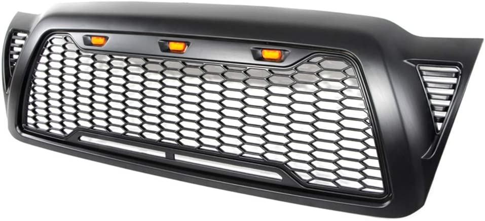 Gloss Black for 2005-2011 Toyota Tacoma FD-ALL Replacement Grille Front ABS Grill With 3 Amber LED Lights