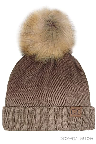 ScarvesMe CC Knitted Ombre Fold Over Faux Fur Pom Pom Beanie (Brown Taupe)  at Amazon Women s Clothing store  cd8f748915f