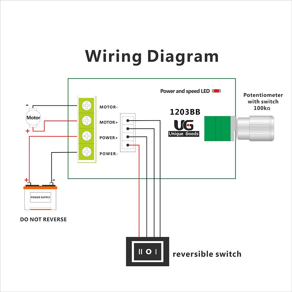 Uniquegoods 6v 12v 24v 28v 3a 80w Dc Motor Speed Controller Pwm Wiring Diagram Price Sign Adjustable Reversible Switch 1203bb Driver Reversing