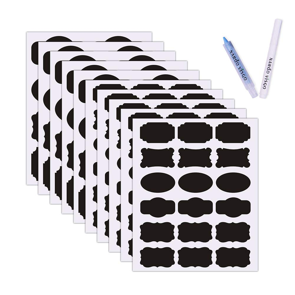 Chalkboard Labels Kit by Nardo Visgo: 130 Premium Stickers for Jars + 2 Erasable Chalk Markers-Waterproof Removable Reusable Chalkboard Stickers, Perfect for Decorating Your Mason Jars Pantries and Offices(Black) (black) NV001