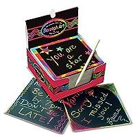 """Melissa & Doug Scratch Art Box de Rainbow Mini Notes, Arts & Crafts, Estilete de madera, 125 unidades, 3.75 """"de alto x 3.75"""" de ancho x 1.75 """"de largo"""
