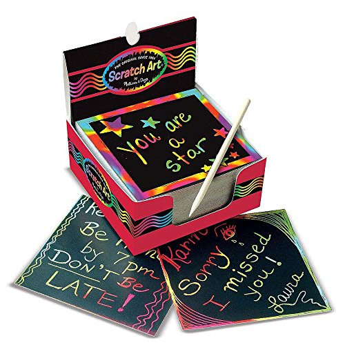 "Melissa & Doug Scratch Art Box de Rainbow Mini Notes, Arts & Crafts, Estilete de madera, 125 unidades, 3.75 ""de alto x 3.75"" de ancho x 1.75 ""de largo"