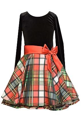 bonnie jean girls christmas holiday plaid dress 2t 6x 2t2 - Christmas Plaid Dress