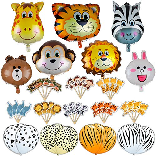 Jungle Safari Zoo Animals Foil Latex Balloons Birthday Party Supplies Decorations Lion Tiger Monkey Zebra Giraffe Cupcake Toppers 42 Pcs -