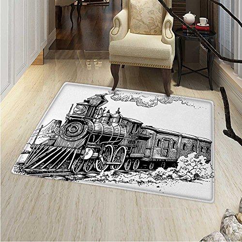 Steam Engine Rug Kid Carpet Rustic Old Train in Country Locomotive Wooden Wagons Rail Road Smoke Home Decor Foor Carpe 3'x4' Black White