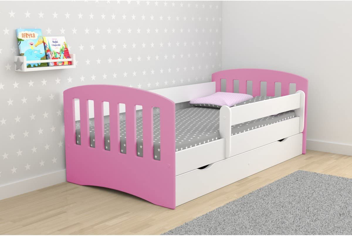 Childrens Beds Home Single Bed Classic 1 Mix Grey, 160x80 For Kids Children Toddler Junior With Drawers and 8 cm Foam Mattress Included