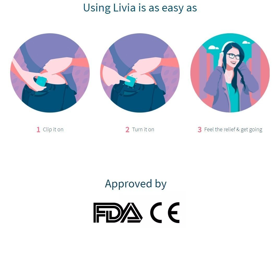 Livia Menstrual Pain Relief Device (Pink) by Livia