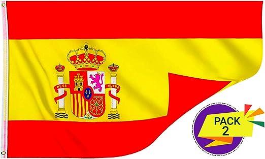 Packs 2 Banderas De España y Española Grande Súper Resistente ✔️ Fabricante Español 💖 Viva España 👆 Si Te Sientes Español 👆 Mira: Amazon.es: Jardín