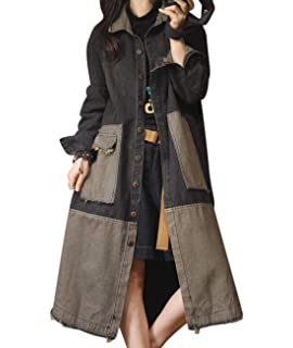 6bc2e1e846a71 YESNO JQ3 Women Fashion Long Loose Maxi Distressed Denim Trench Jacket Coat  Casual Plus Size Lapel