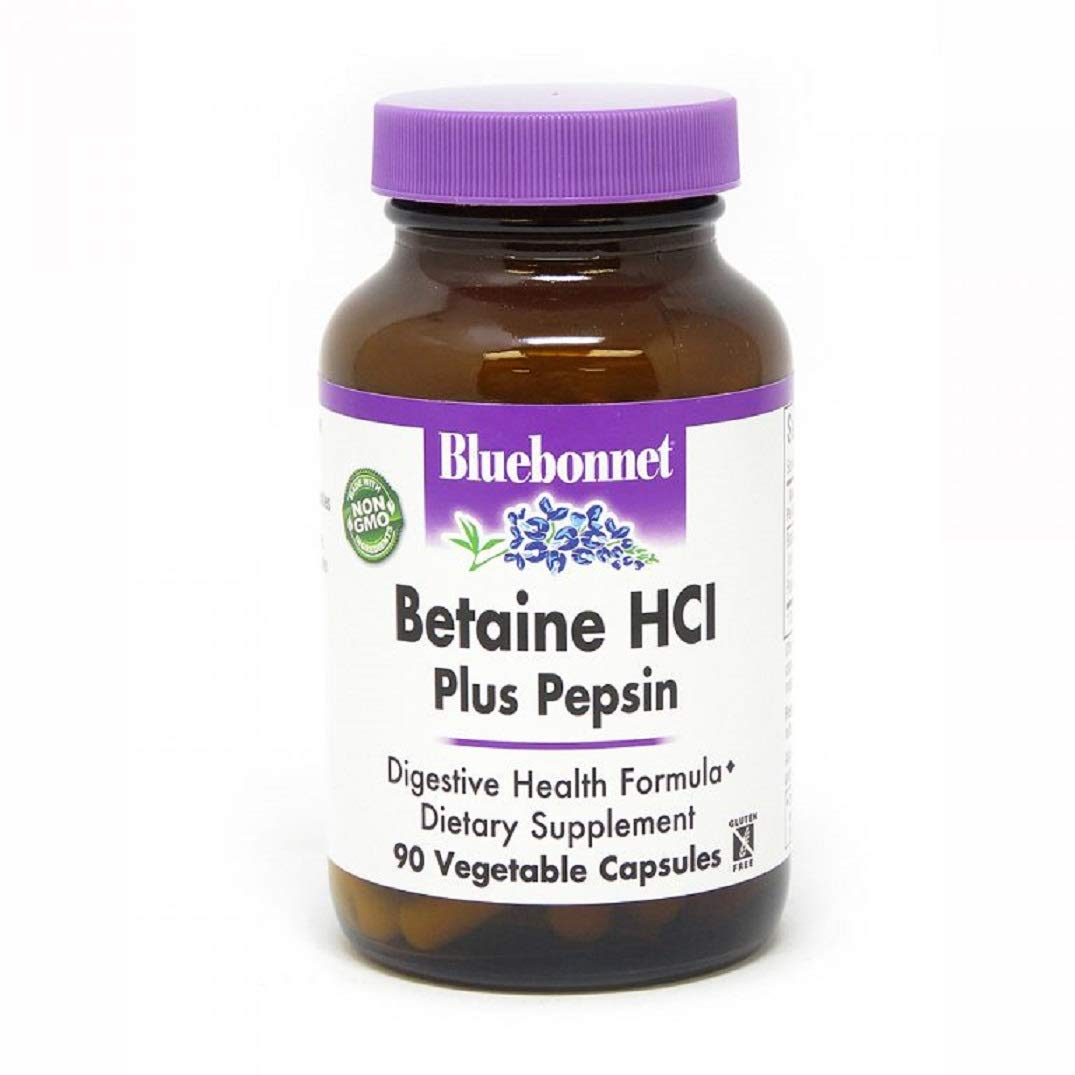 BlueBonnet Betaine HCI Plus Pepsin Vegetarian Capsules, 90 Count