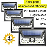 Solar Lights Outdoor - Solar Motion Sensor Light - Wall Light 24 LED - Wireless Waterproof Solar Powered LED Lights Outdoor with Wide Angle Illumination - Night Security LED Patio Lights (4 Uprade)