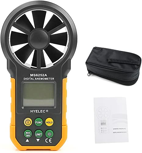 Kangnice HYELEC MS6252A Wind Speed Meter LCD Digital Anemometer Air Flow Test Backlight