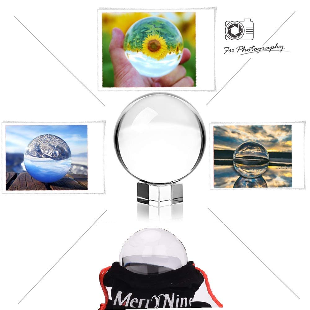 MerryNine Professional Photography Crystal Ball, K9 Crystal Glass Ball with Pouch (60mm Ball + 3cm Stand)