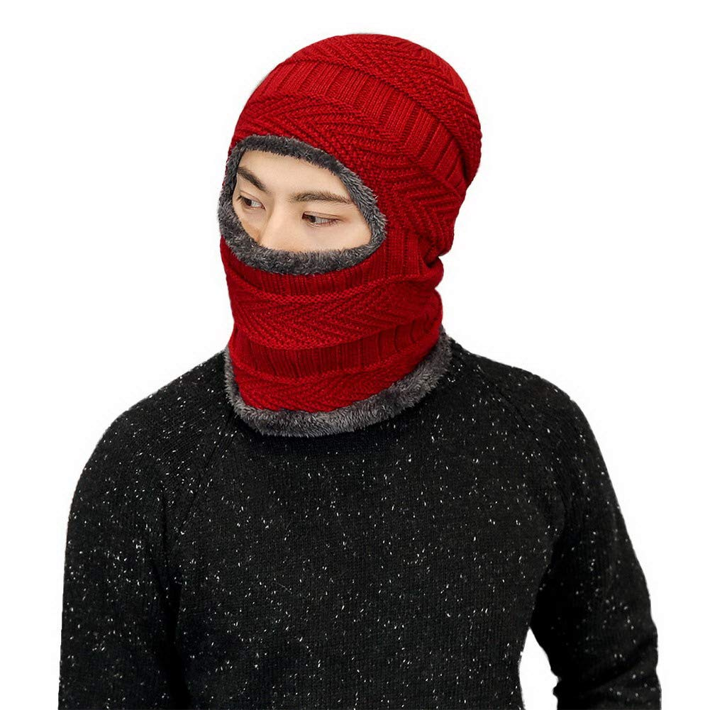 AIEOE Men Knit Hats Winter Soft Lined Thick Hats Windproof Face Cover Mask Cap