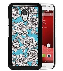 Moto G 2nd gen Case,Vintage Aqua Floral Motorola Moto G 2nd gen Case Black Cover