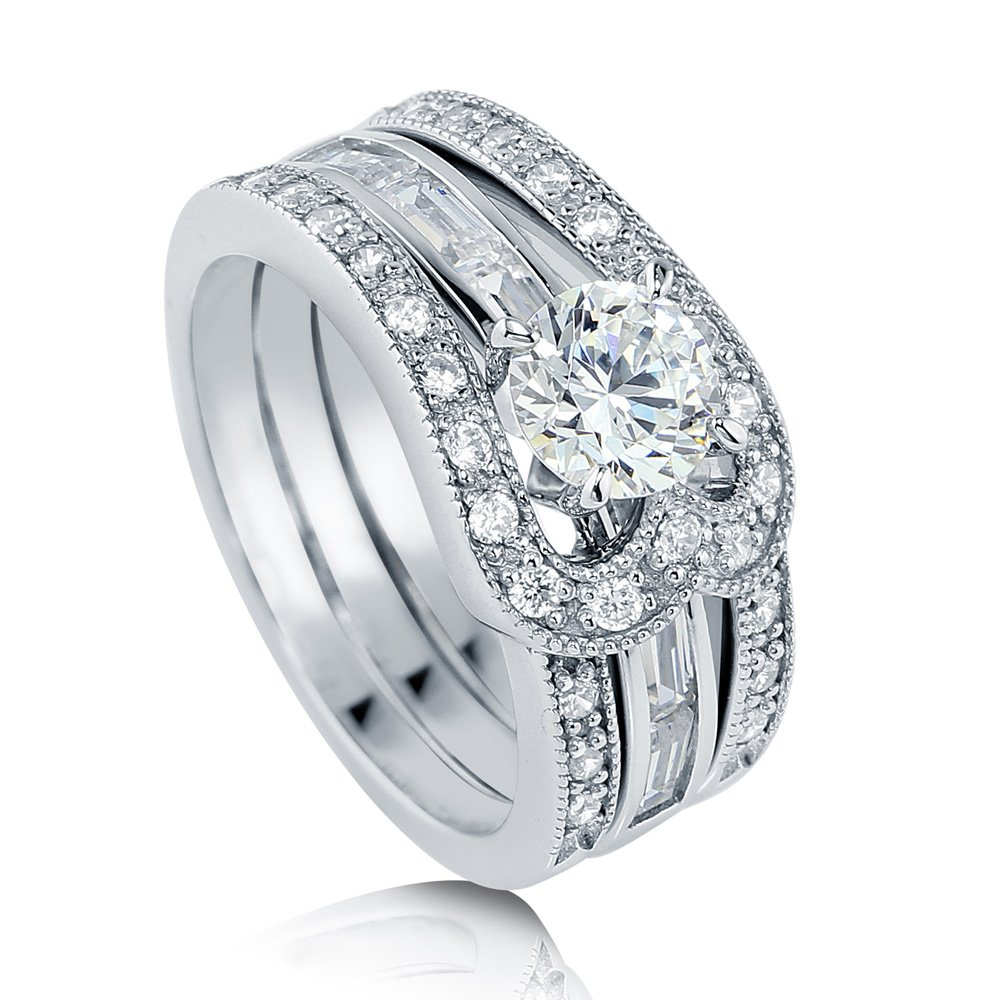 BERRICLE Rhodium Plated Sterling Silver Cubic Zirconia CZ Solitaire Engagement Ring Set Size 7.5