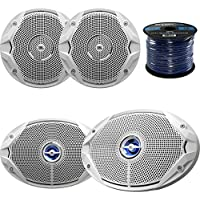 Marine Speaker Package: 2x JBL MS9520 6x9 2-Way White Coaxial Marine Speakers Bundle Combo With 2x JBL MS6510 6.5 Inch Boat Speakers + Enrock 50 Foot 16g Speaker Wire