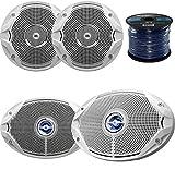 Marine Speaker Package: 2x JBL MS9520 6x9'' 2-Way White Coaxial Marine Speakers Bundle Combo With 2x JBL MS6510 6.5'' Inch Boat Speakers + Enrock 50 Foot 16g Speaker Wire