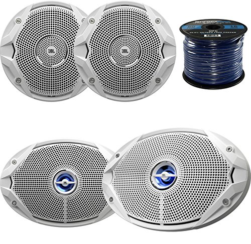 "Marine Speaker Package: 2x JBL MS9520 6x9"" 2-Way White Coaxial Marine Speakers Bundle Combo With 2x JBL MS6510 6.5"" Inch Boat Speakers + Enrock 50 Foot 16g Speaker Wire"