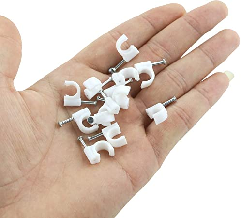 100pcs White 10mm Dia Electric RG6 Coax Cable Circle Nail Clips Fasteners Vl