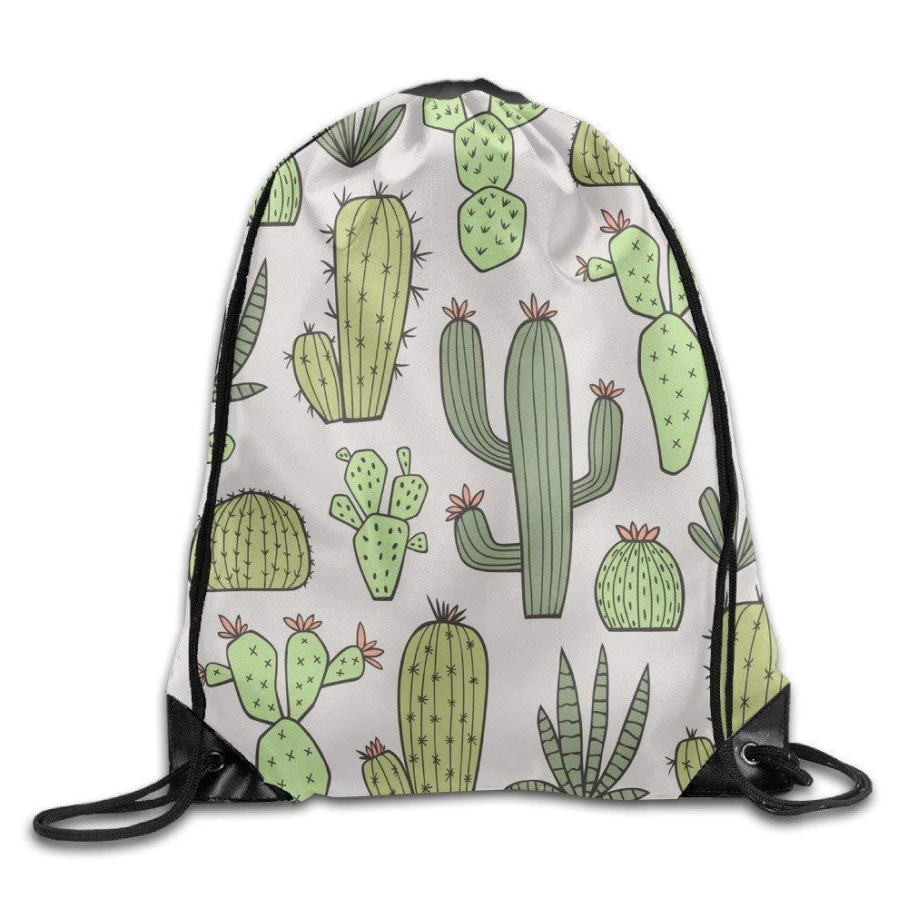 Dutars Création de Mode Sac Sac Cordon de Serrage Sac à Dos Vert Plante Cactus et Fleur Mignon Faisceau Bouche Sac à Dos