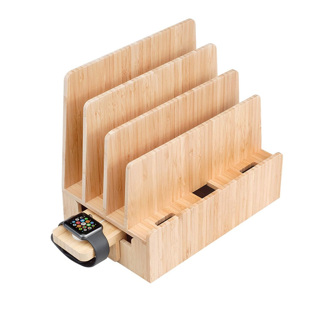 MobileVision Slim Bamboo Charging Station & Compatible Adapter for Apple Watch Multi Device Organizer, Smartphones, Tablets, Laptops & More