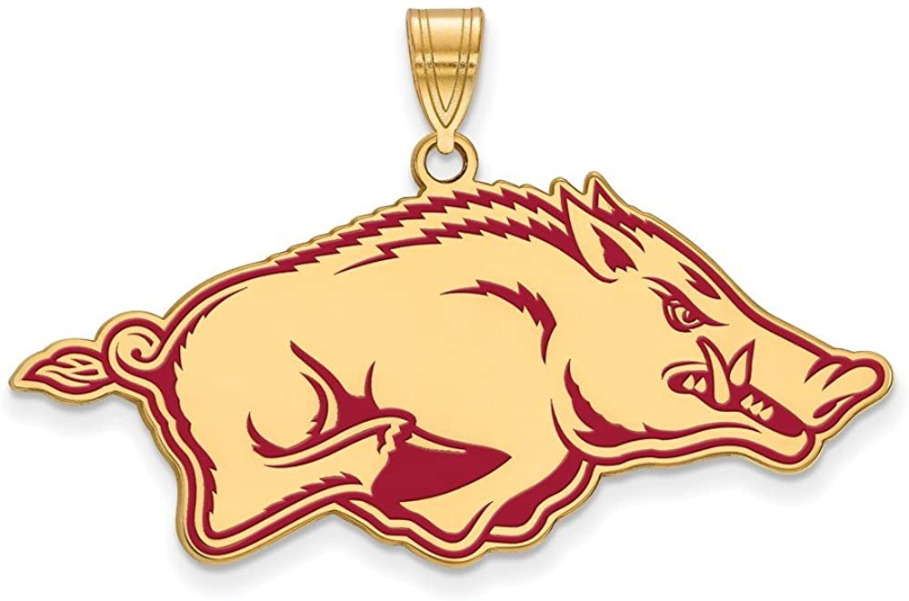 925 Sterling Silver Yellow Gold-Plated Official University of Arkansas XL Extra Large Big Enamel Pendant Charm 25mm x 40mm