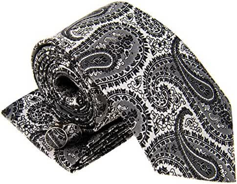 Paisley Art Pattern Woven Men's Tie Necktie w/ Pocket Square & Cufflinks Gift Set