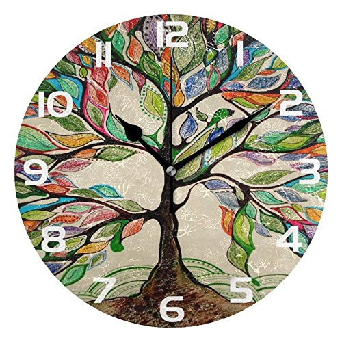 - ALAZA Vintage Tree of Life Round Acrylic Wall Clock, Silent Non Ticking Oil Painting Home Office School Decorative Clock Art