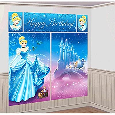"Amscan Disney's Cinderella Scene Setters, Blue, 59"" x 65"": Toys & Games"