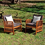 Cheap Southern Enterprises Distinct Style 2-Piece Set Oiled Hardwood Outdoor Armchairs in Rich Greys/Ivory Finish