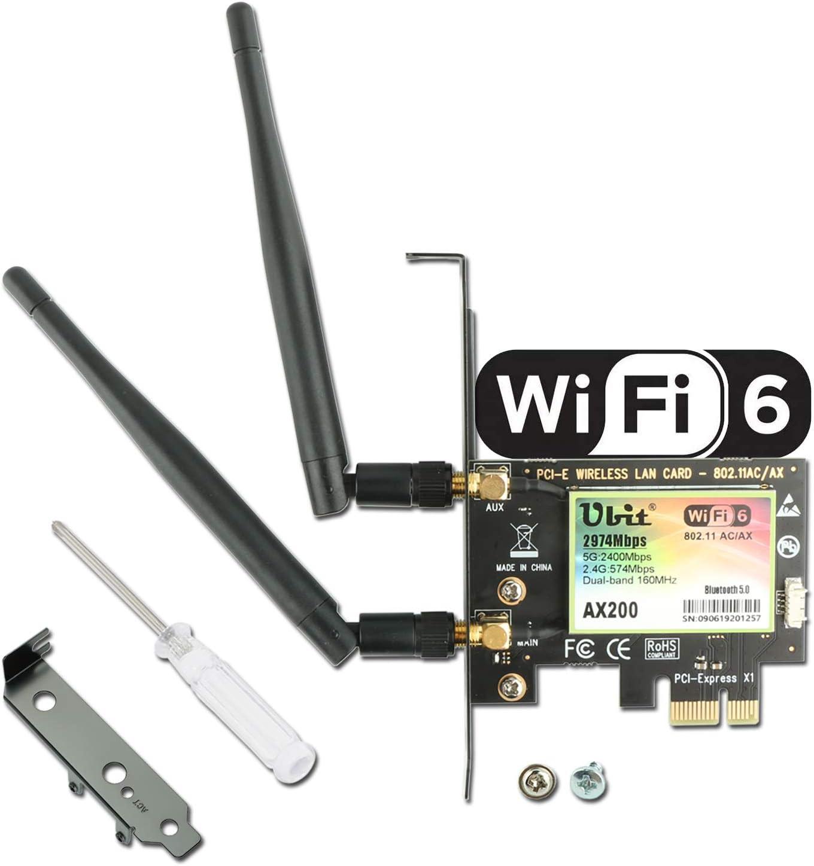 Ubit Tarjeta WiFi 6 AX200 PCIe, Tarjeta Wi-Fi 6 802.11ax/AC Superspeed 2974Mbps, Tarjeta de Red PCI-E inalámbrica de Doble Banda 5GHz / 2.4GHz con Bluetooth 5.0