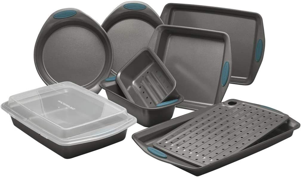 Rachael Ray 47025 Yum-O Nonstick Oven Lovin Bakeware Set with Handles44; Gray & Marine Blue - 10 Piece