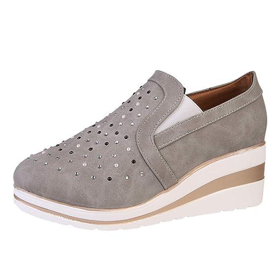 Luckycat Deportivo Piel Plataforma Mujer Zapatos Planos con ...