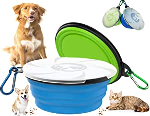 Collapsible Dog Travel Bowls, 2 Pack Foldable Travel Cat Bowls with Transparent Lids Carabiners Portable Pet Water Food Feeder Dishes for Outdoor Walking Parking Traveling Running Hiking (Blue+Green)