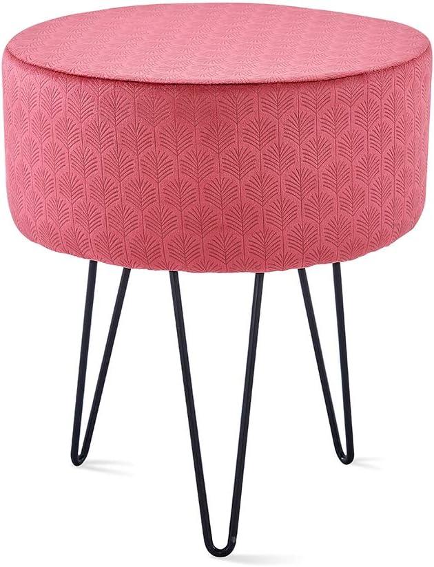 Mxfurhawa Rose Red Velvet Round Footrest Stool OttomanModern Upholstered VanityStoolSide Table Seat Dressing Chair for Bedroom Living Room with Black Metal Leg