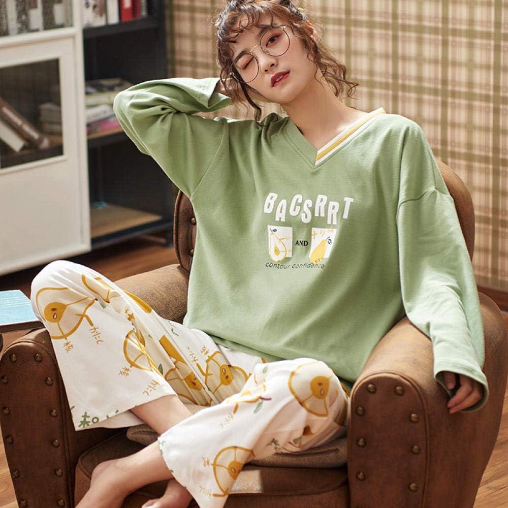 Pijamas de Mujer Ropa de hogar de Manga Larga de algodón, Ropa ...