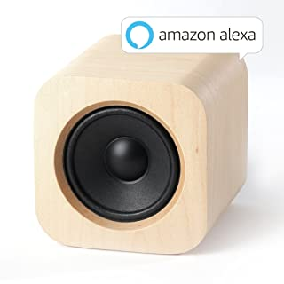 Sugr Cube Minimalist Wi-Fi Speaker with Amazon Alexa, Spotify Connect and Touch Control,Maple Wood