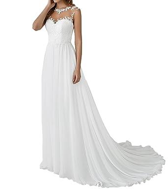 Yasiou Hochzeitskleid Elegant Damen Lang Weiss Vintage Spitze Chiffon